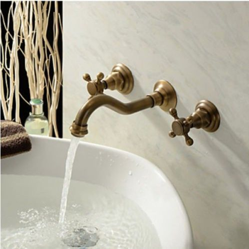 Lazio Wall Mount Two Handles Antique Brass Bathroom Sink Faucet