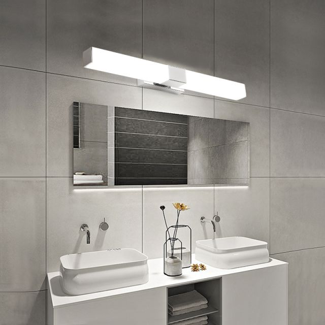 Juno Stainless Steel Rectangle Wall Mount Frosted LED Mirror Wall Light