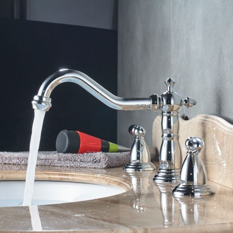 Luxury Dual Handle Deck Mount Long Neck Bathroom Faucet