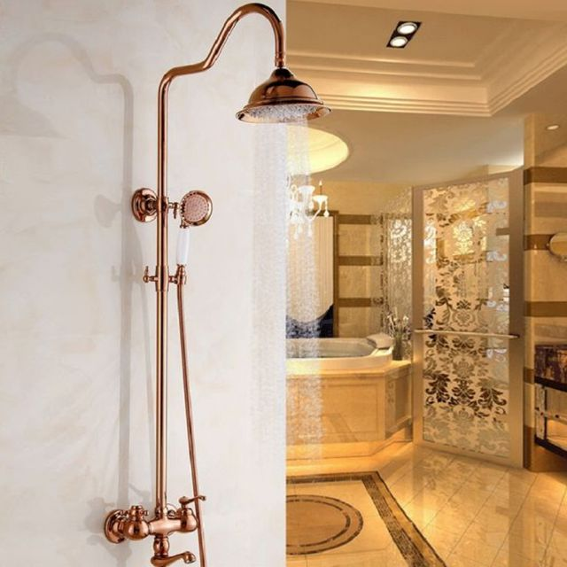 Luxury Polished Gold Wall Mounted Rain Shower Faucet Bath Set with Tub Spout NEW