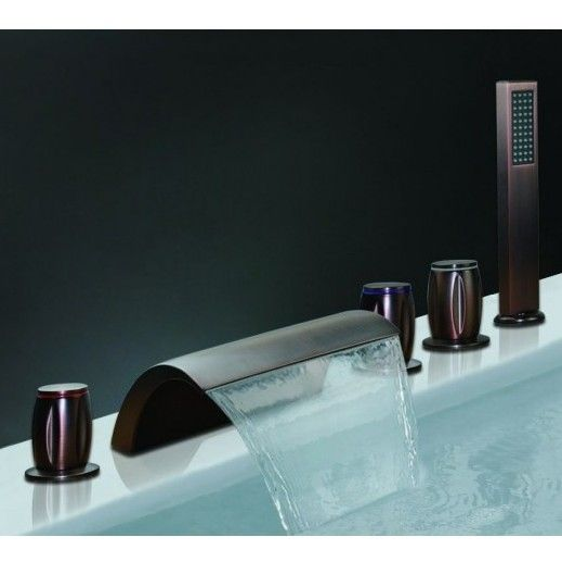 Roman Oil Rubbed Bronze Waterfall Bathtub Faucet Hand Held Shower Head