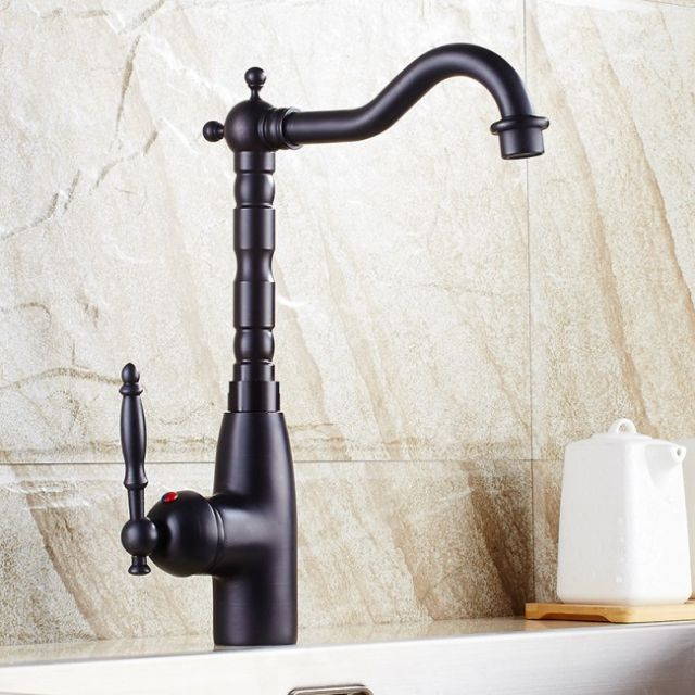 Retro Single Handle Deck Mounted Black Kitchen Vessel Sink Faucet