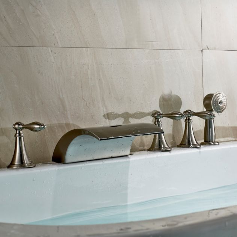 Brushed Nickel Bathroom Basin Faucet Waterfall Spout Roman Tub Sink Mixer Tap