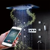 Juno Musical Curved Waterfall Rainfall Ceiling Mount Phone Control LED Shower Head With Mixer