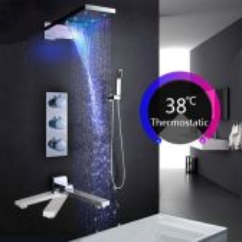 Juno LED Luxury Rain Waterfall Bathroom Shower Head with Hand Shower & Faucet