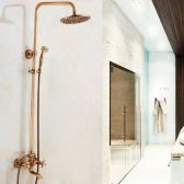 Juno New Polished Brass Shower Head With Handheld Shower Mixer and Tub Spout
