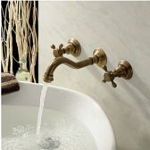 Juno Andros Antique Brass Dual Handled Basin Sink Faucet