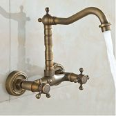 Juno Antique -Wall Mounted Double Handle Bathroom Sink & Bathtub Faucet