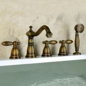Juno Antique Brass Classic Bathroom Bathtub Faucet with Hand Shower