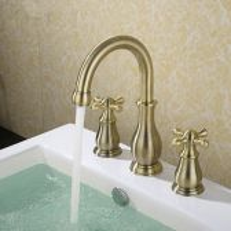 Juno Solid Brass Dual Handle Widespread Three Holes Bathroom Sink Faucet Deck Mount Vanity Mixer Tap