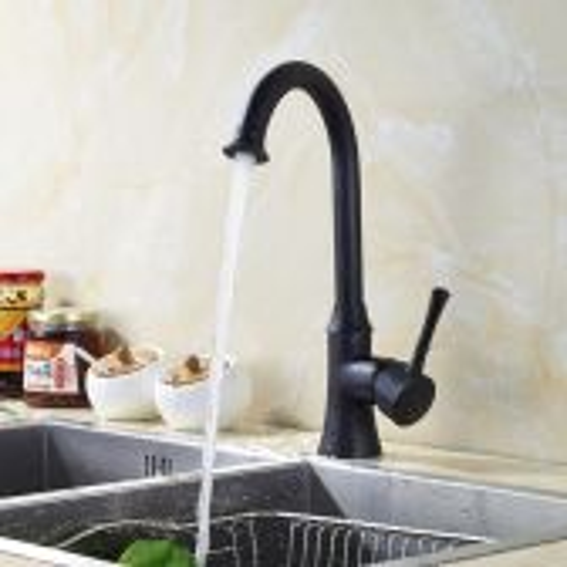 Juno Brushed Black Goose Neck 360-Rotation Single Handle Kitchen Sink Faucet