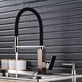 Juno Black Square Base Single Handle Pull-Out Kitchen Faucet with Soap Dispenser