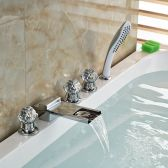 Juno Paris Crystal Handle Chrome Finish Waterfall Bathtub Faucet with Pullout Handheld Shower