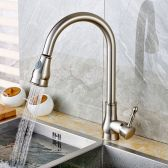 Juno Brushed Nickel Kitchen Sink Faucet with Pullout Sprayer