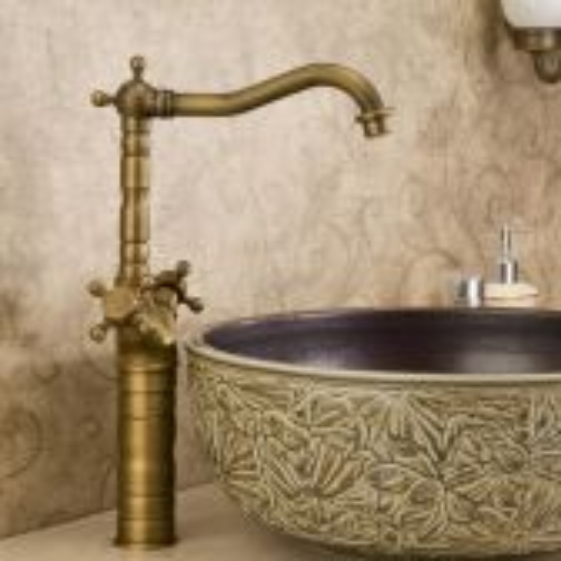 Juno Classical Brass Art Deck Mounted Bathroom Sink Faucet