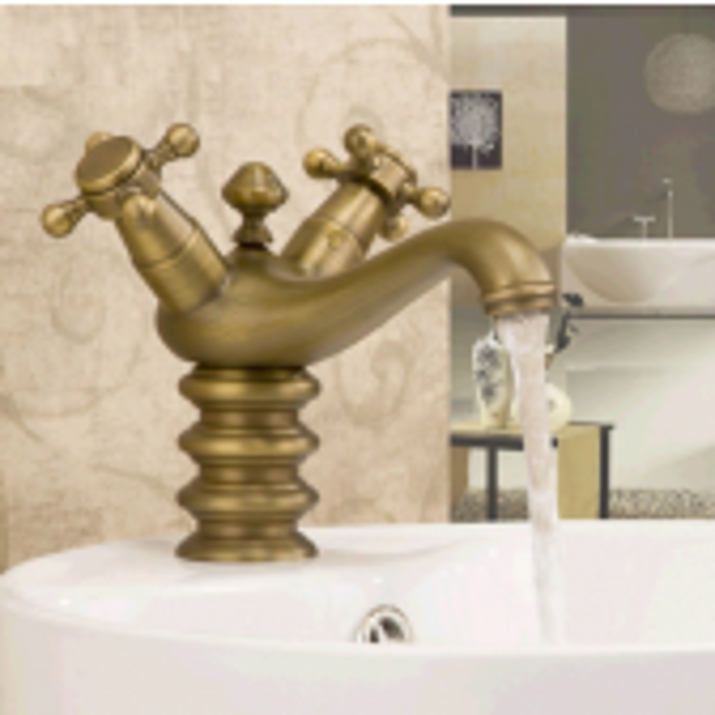 Classical Bathroom Single Hole Antique Brass Basin Faucet  | Double Handle Sink Mixer Tap