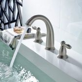 Juno Double Handle Chrome Finish Widespread Bathroom Sink Faucet