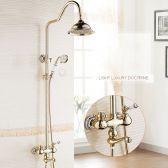 Juno Contemporary Gold Bathroom Faucet Shower with Hand-Held Shower