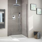 Juno Contemporary Square Shower Head Thermostatic Digital Display Bathroom Handheld Shower