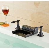 Juno Nantes Oil Rubbed Bronze Waterfall Dual Handle Bathroom Sink Faucet