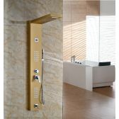 Juno Gold Finish Wall Mount Shower Panel with Hand Held Shower Head and Faucet