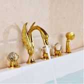 Juno Goldy Deck Mounted Waterfall Shower Bathtub Faucet
