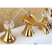 Juno Ivory Dual Handle Crystal Gold Bathroom Sink Faucet Mixer Tap