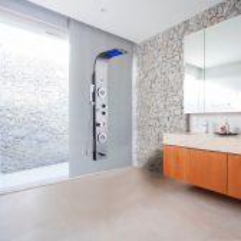 Juno 5 Function Super Luxury Shower Panel Stainless Steel Massage Spray LED Rainfall Waterfall Shower Panel