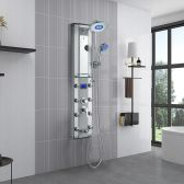 Juno Digital Temperature Display Super Luxury LED Shower Panel Shower Head with 8 Body Jets & Hand Shower