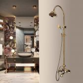 Juno Wall Mount Gold Finish Shower Head Set Brass Faucet Handheld Shower Head