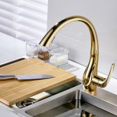 Juno Natalie Gold Kitchen Sink Faucet Deck Mounted Single Handle Swivel Water Outlet Pull Out Spout