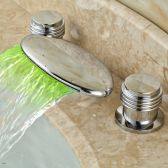 Juno Palermo Deck Mounted LED Light Bathroom Sink Faucet In Chrome