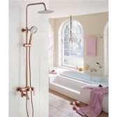 Juno Round Luxury Gold 8 Inches Bathroom Shower with Handheld Shower