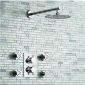Juno Thermostatic Ultra Thin Shower Head With 4-Massage Body Jets