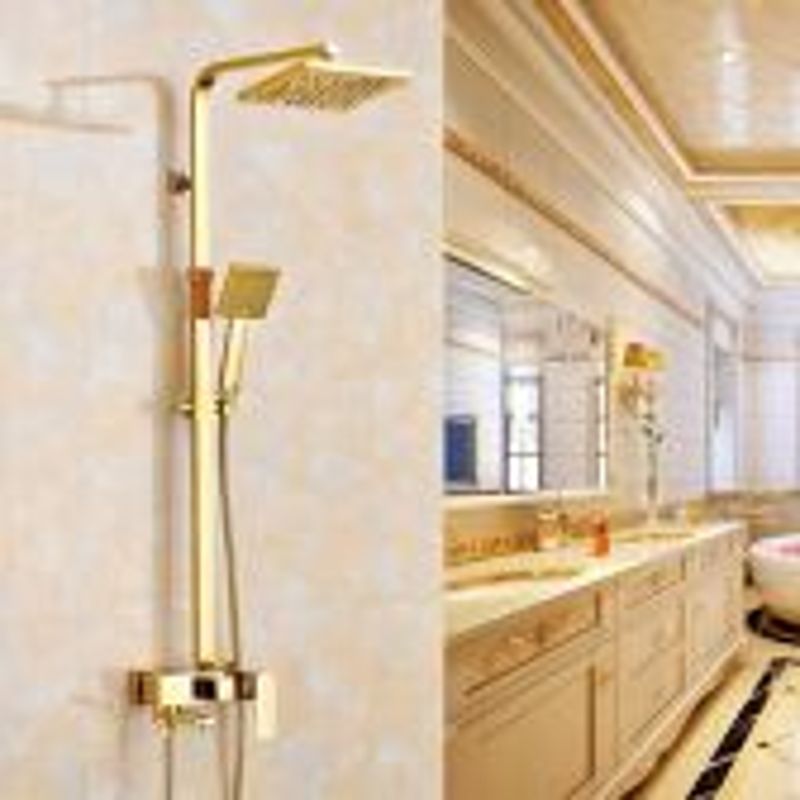Juno Royal Luxury Water Rainfall Gold Wall 8 inch Shower & Hand Held Shower