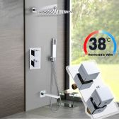 Juno Square Chrome Dual Handle Shower Mixers Thermostatic Shower Set