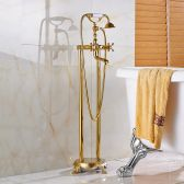 Juno 360 Rotation Pedestal Brass Gold Finish Shower Faucet & Handheld Bathtub Shower System With Single Handle Mixer