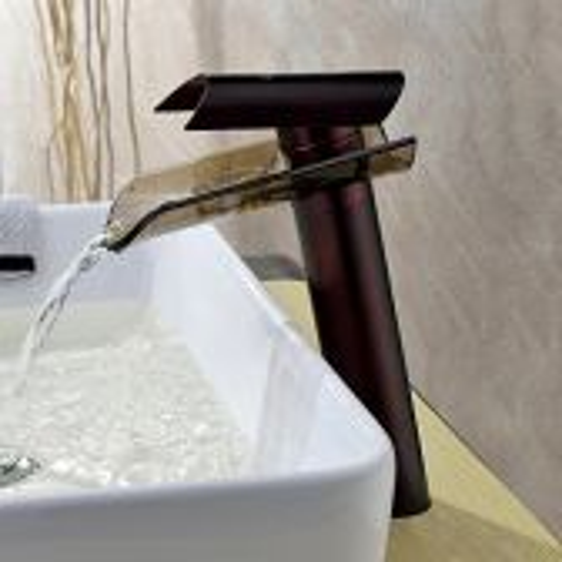 Juno Waterfall Glass Single lever Bathroom Basin Sink Faucet in Oil Rubbed Bronze