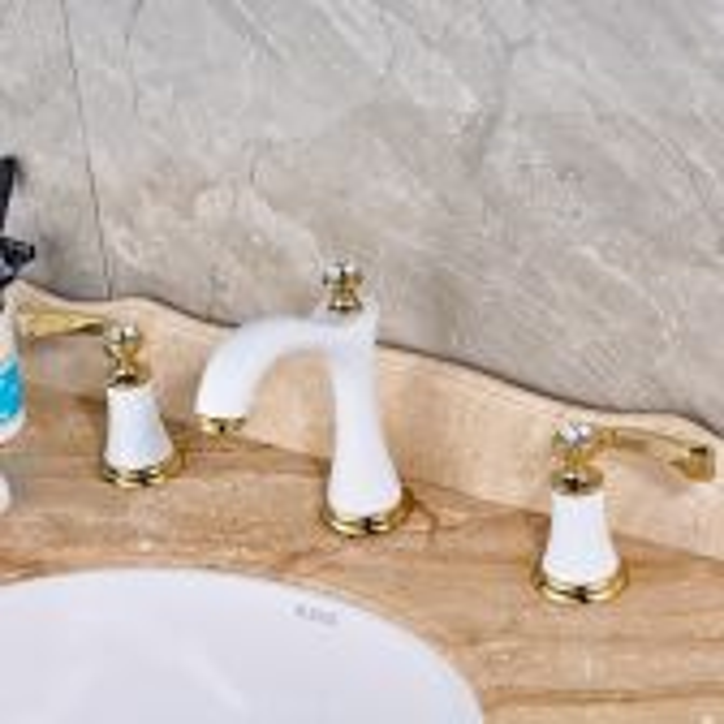 Juno White Golden Deck Mounted Gold Handle Bathroom Mixer Faucet