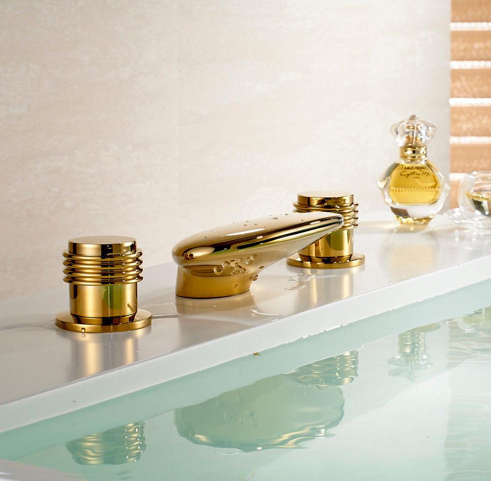 Gold Finish Waterfall Bath-Tub Faucet