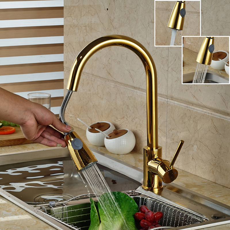 Gold-plate Single Hole Pull Out Faucet for Kitchen Basin