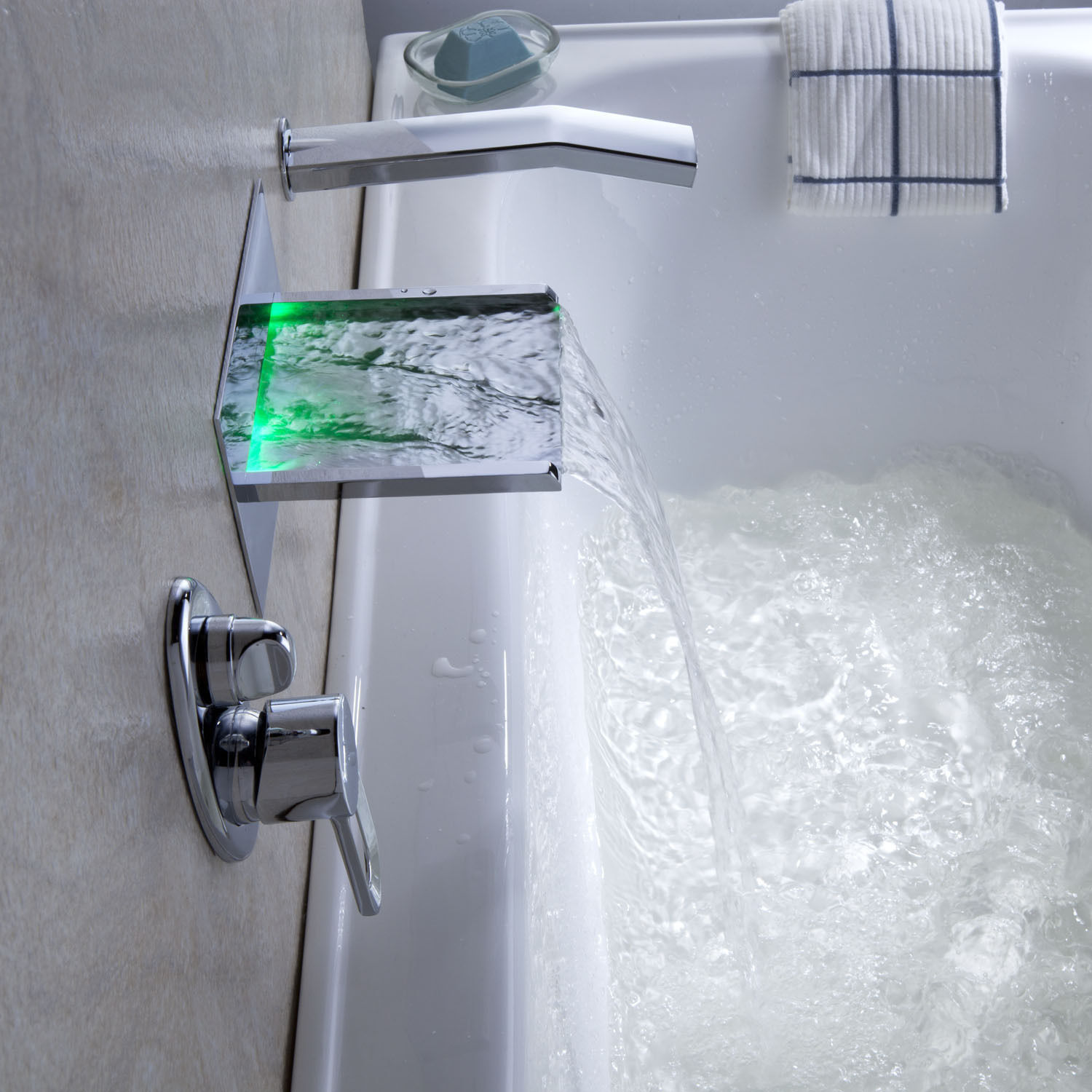 Wall Mounted Led Waterfall Bathroom bathtub Faucets
