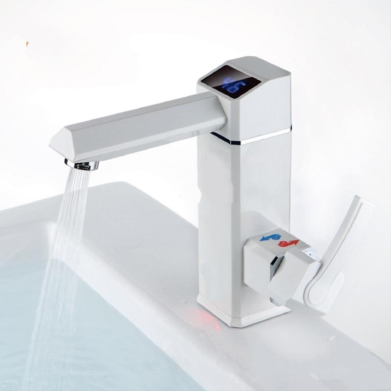Digital White Deck Mounted Electric Single Handle Bathroom Faucet