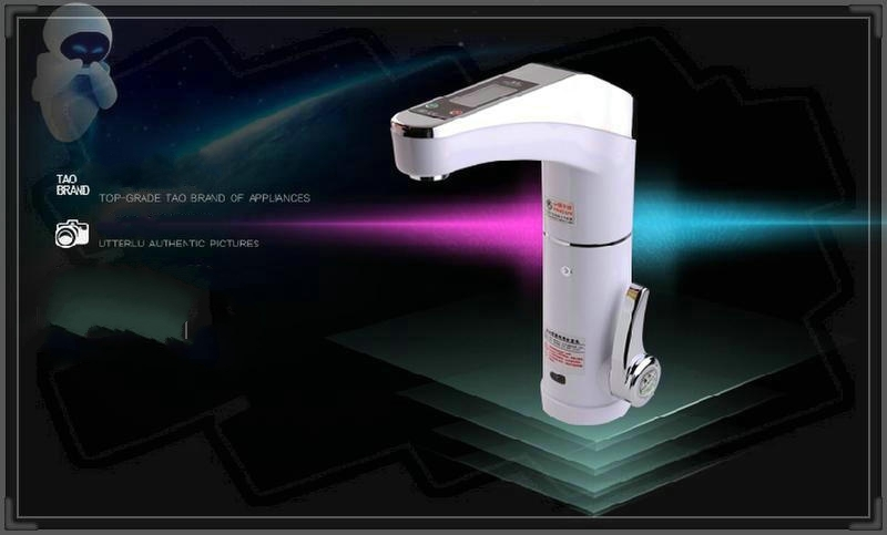 Digital White Deck Mounted Electric Single Handle Kitchen Faucet
