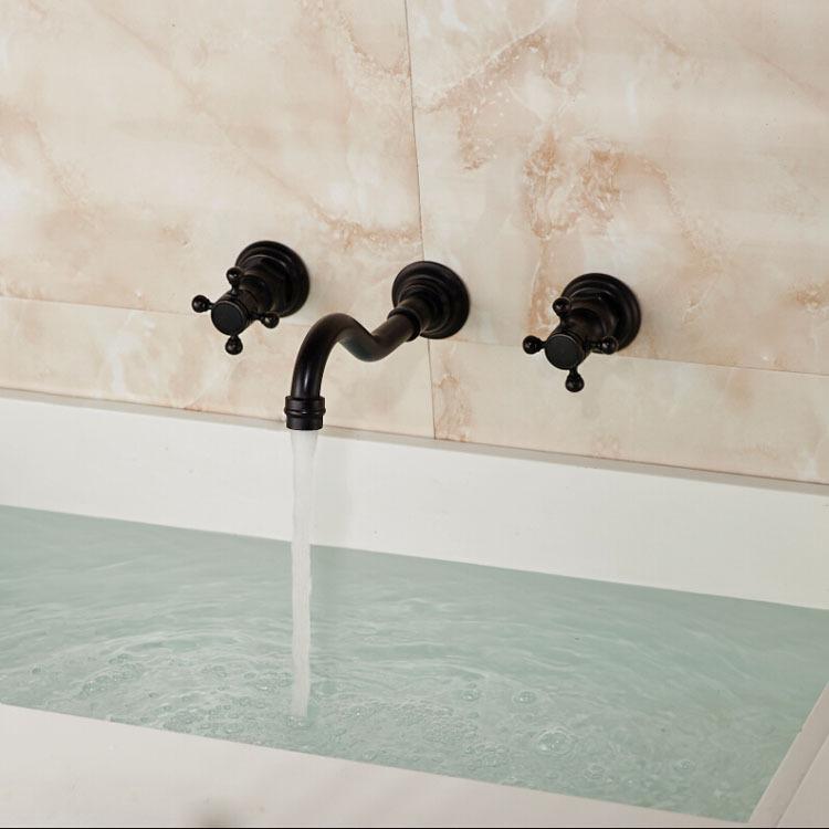 Double Handles Bath-tub Mixer Taps Oil-rubbed-Bronze
