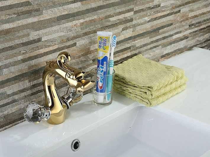 Dragon Head Gold Finish Dual Crystal Handle Bathroom Faucet