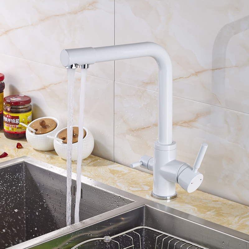 Dual Handle 360 Degree Rotation Purification Kitchen Sink Faucet