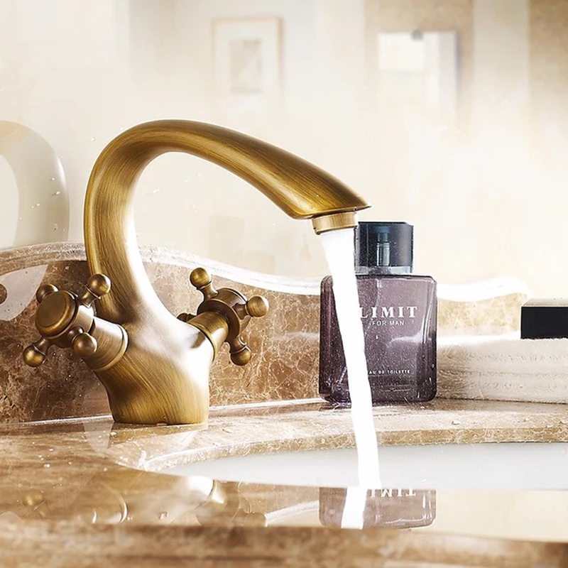 Dual Handle Solid Brass Stylish Curved Bathroom Sink Faucet
