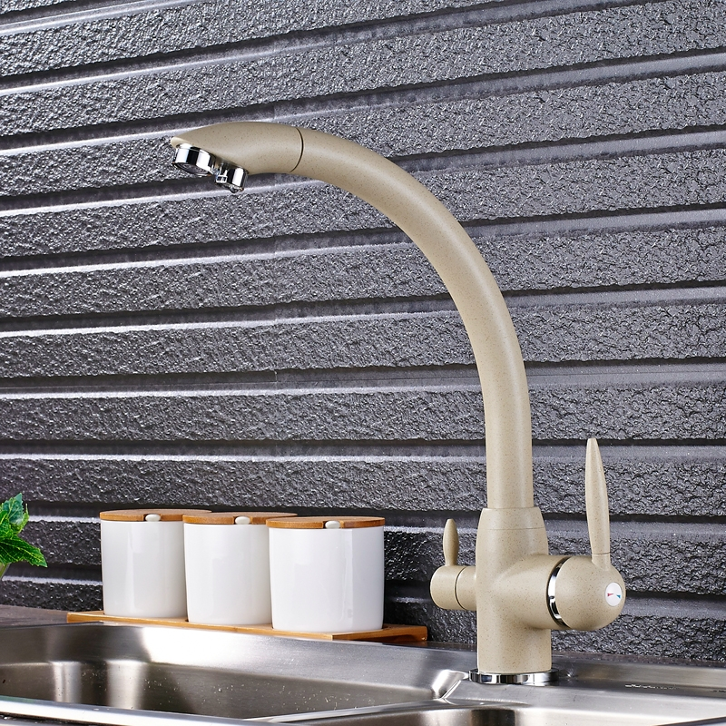 Dual Handle Swivel 360-Degree Rotation Dot Curved Kitchen Faucet