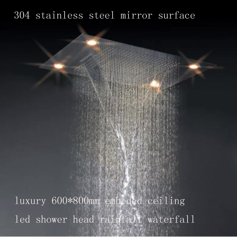 "waterfall rainfall 31"" ceiling mount led shower head"